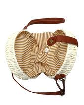 Women's White Vegan Bohemian Woven Handbag Wicker Canteen Lined Boho Chic Purse image 4