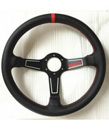 350mm Leather Mid Deep Dish Steering Wheel SPC Drifting Racing OMP Red S... - $49.98