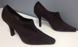 TAHARI Brown Soft Fabric Slip On Pointy Toe  Block Heel Ankle Boots Sz 6... - $30.71