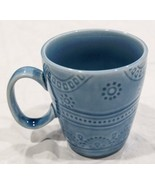Threshold Kennet Azure Coffee Tea Mug Blue Embossed Dots Bands Stoneware - $9.03