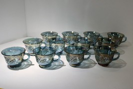Indiana Glass Lot of 4 Iridescent Blue Carnival Harvest Princess 6oz Pun... - $10.00