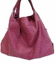 Furla Fuschia Pink Ostrich Embossed Leather Elisabeth Tote Shoulder Bag Purse image 3