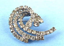 Rhinestone Swirl Brooch Pin Wave 3 Levels 1950-1960s Wedding Party Prom Unsigned - $30.00