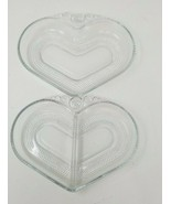"""Set of 2 Vintage Candlewick Condiment Dishes Heart Shaped Beaded 7.75"""" x 6"""" - $16.82"""