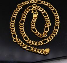 22KT YELLOW GOLD HANDMADE FIGARO LINK CHAIN FABULOUS GIFTING JEWELRY CH173 - $1,732.49