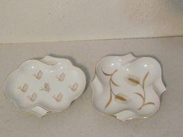 2pc Japan white gold porcelain ashtray candy trinket dish wheat butterfl... - $15.00