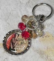 Shop Girl Bottle Cap Keychain Crystal Beaded Handmade Split Key Ring New - $13.09