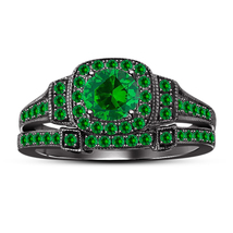 14k Black Gold FN. 925 Silver Round Cut Green Sapphire Wedding Bridal Ring Set - $89.22