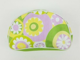 """Clinique Makeup Cosmetic Bag Purple yellow White green Flowers leaves 9""""  - $7.75"""