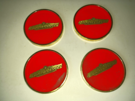 Beer Budweiser Glassy Red & Gold Collectible Vintage Coaster Set in Orig... - $79.99