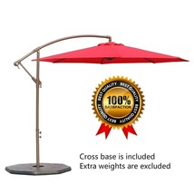 10Ft Offset Hanging Patio Umbrella Aluminum Outdoor Cantilever Crank Lif... - $205.55 CAD