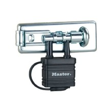 Master Lock 471EURD 110mm Hardened Steel Hasp with Integrated Weatherproof Padlo - $40.00