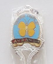 Collector Souvenir Spoon Australia Ayr Nature Display Butterfly Cloisonne Emblem - $14.99