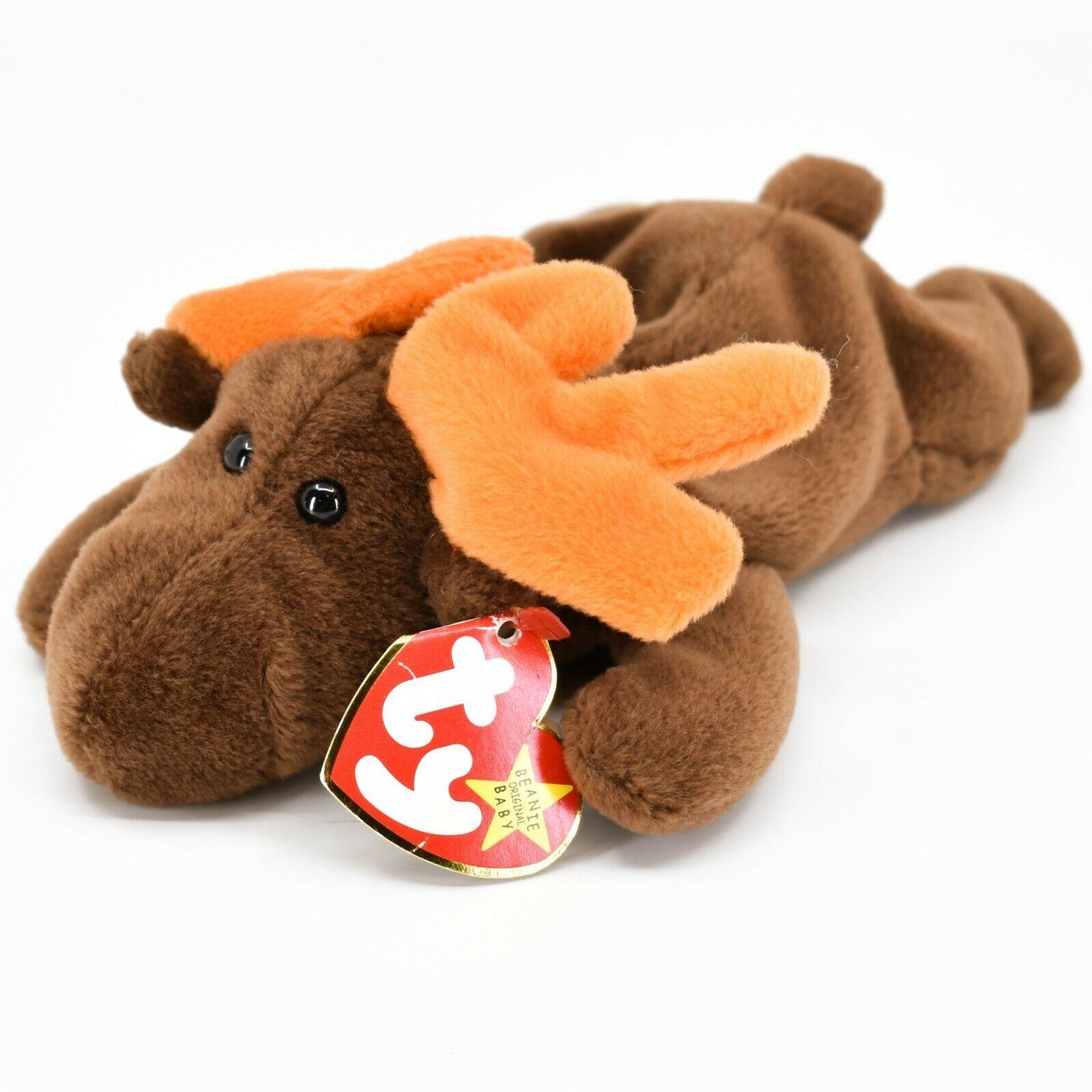 1993 TY Beanie Baby Original Chocolate the Moose PVC Beanbag Plus Toy Doll