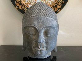 Old and Heavy Carved Gray Stone Asian Head of Buddha - $399.00