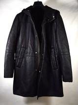 Zara Man Mens Faux Leather Black Hooded Long Coat S NWT - $118.80