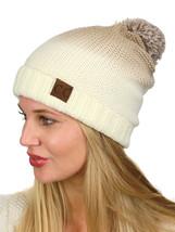 C.C Ombre Pom Soft Fuzzy Lined Warm Horizontal Knit Cuff CC Beanie Hat - $14.79