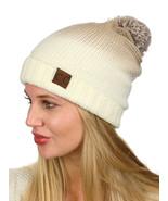 C.C Ombre Pom Soft Fuzzy Lined Warm Horizontal Knit Cuff CC Beanie Hat - $14.05