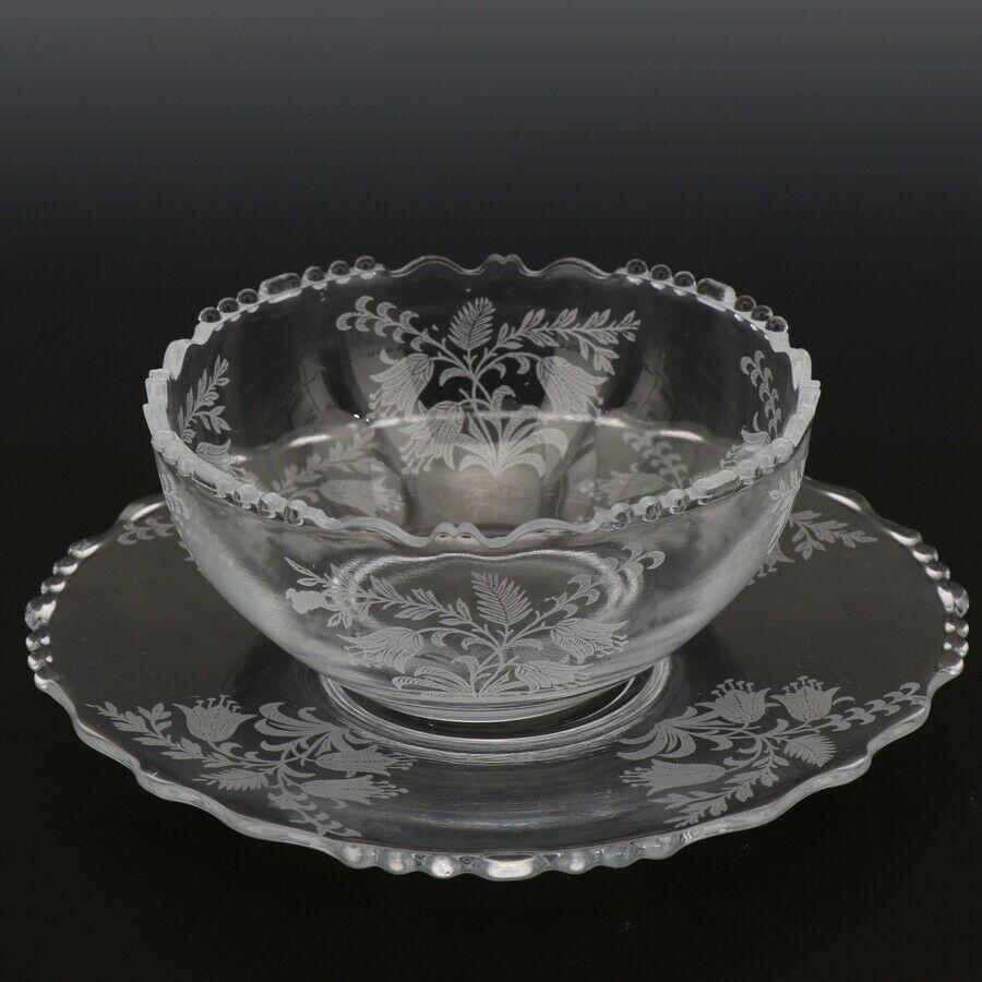 Tiffin Fuchsia Elegant Glass Bowl Mayo and Liner