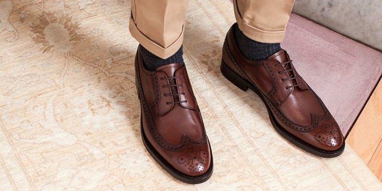 Handmade Men Wingtip Brown Leather Formal Shoes Men Brogue Dress