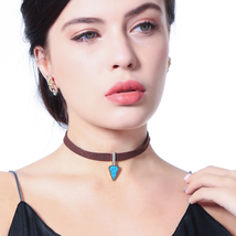 Brown Suede Chain Blue Triangle Charm Choker Necklace Jewelry 2018 New F... - $7.99