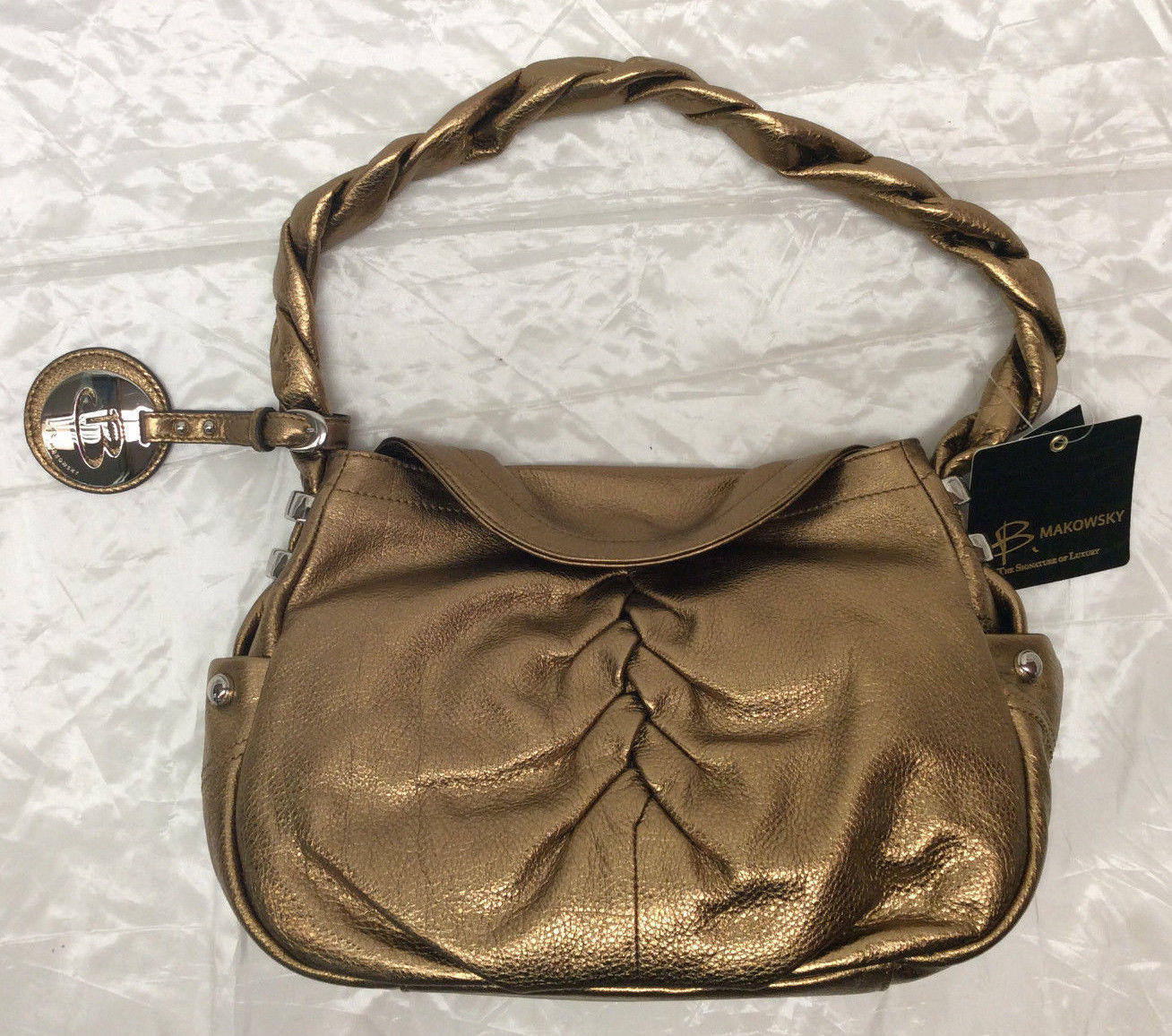 B Makowsky Ruched Glove Leather Flap Hobo With Braided Strap 127 71