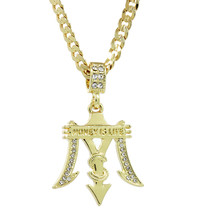 """14K Gold Plated Hip Hop Iced Out Money Is Life Pendant 5 mm 24"""" Cuban Ch... - $12.86"""
