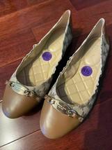 NWOB Michael Kors Joyce Ballet MK Heritage Canvas Logo Natural Shoes sz 8.5 - $79.99