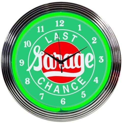 "Primary image for Last Chance Garage Neon Clock 15""x15"""
