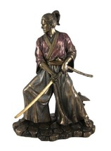 "Top Collection 8.5"" Samurai in Combat Statue in Cold Cast Bronze - $104.46"