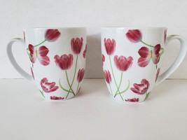 PPD Paper Products Design Germany Porcelain Mugs set of 2 Pink Tulips Bu... - $17.81