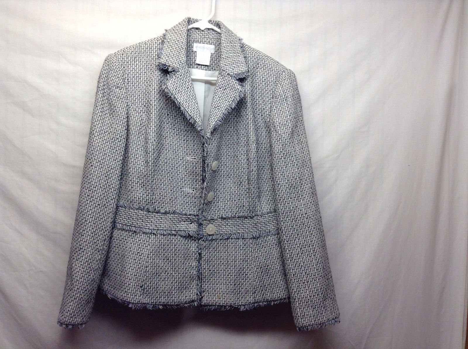 Worthington Black/Lt Blue Blazer w Cream Pattern w Frayed Edge Design Sz 8