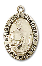 14K Gold St. Jude Medal 3/4 x 1/2 inch - $459.38