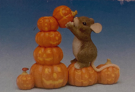 Fitz and Floyd Charming Tails Stack O'Lanterns figurine pumpkins Halloween mouse - $18.00