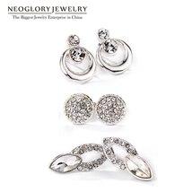 Austrian Rhinestone Crystal White Three Pairs Stud Earrings Set For Wome... - $28.69