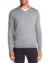New $88 Bloomingdales 100% Merino Wool Medium Gray Classic V-NECK Sweater - $21.99