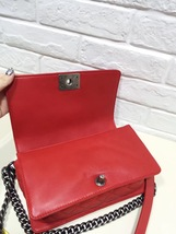 AUTHENTIC CHANEL RED SMOOTH CALFSKIN REVERSO MEDIUM BOY FLAP BAG RHW image 5