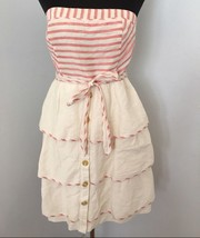 Maeve Anthropologie Sweet Shoppe Dress 12 Ivory Red Striped Tiered Linen... - $49.99