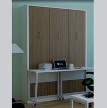 Alexa Queen Wall Bed with Desk | White & American Oak - £1,721.85 GBP
