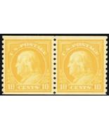 497, Mint OG Lightly Hinged 10¢ Coil Pair Washington Cat $40.00 - Stuart... - $19.95