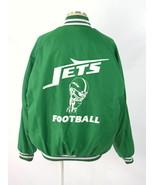 Vtg 80s Kelly Green JETS FOOTBALL Retro Varsity Warm Up Track Bomber Jac... - $28.70
