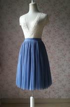 DUSTY BLUE Tulle Maxi Skirt Floor Length Women Tulle Skirt Dusty Blue Bridesmaid image 9