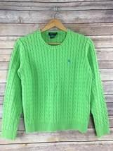 Lauren Ralph Lauren Crewneck Sweater L Large Green Cable Knit Preppy Cotton - $27.71