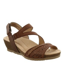Earth Origins Leather Asymmetrical Strap Wedges- Kendra Karla Almond 9 M - $79.19