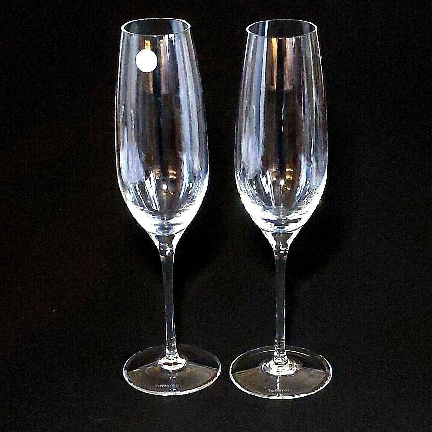 "2 (Two)  TIFFANY & CO CLASSIC Crystal 9"" U Shape Fluted Champagne Glasses-Signed"
