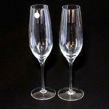 "2 (Two)  TIFFANY & CO CLASSIC Crystal 9"" U Shape Fluted Champagne Glasse... - $56.99"