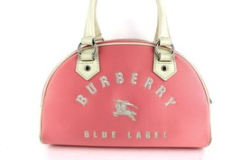 Auth Burberry London Blue Label Logo Hand Bag Pink Nylon Canvas HandBag Good - $147.51