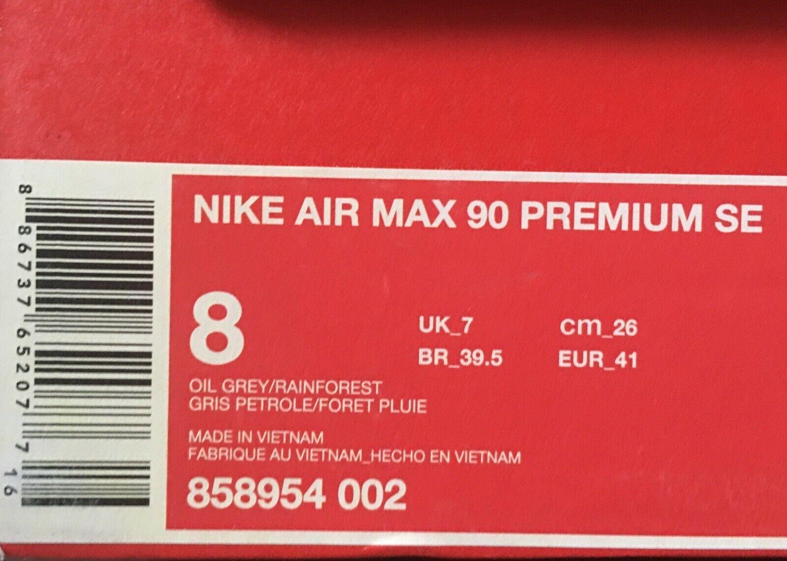 NIB NIKE AIR MAX 90 PREMIUM SE SHOES - Oil Grey / Rainforest sz US 8