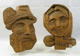 Vintage Pair Of Wood Carved Old Man Woman Figure Face Black Forest image 7