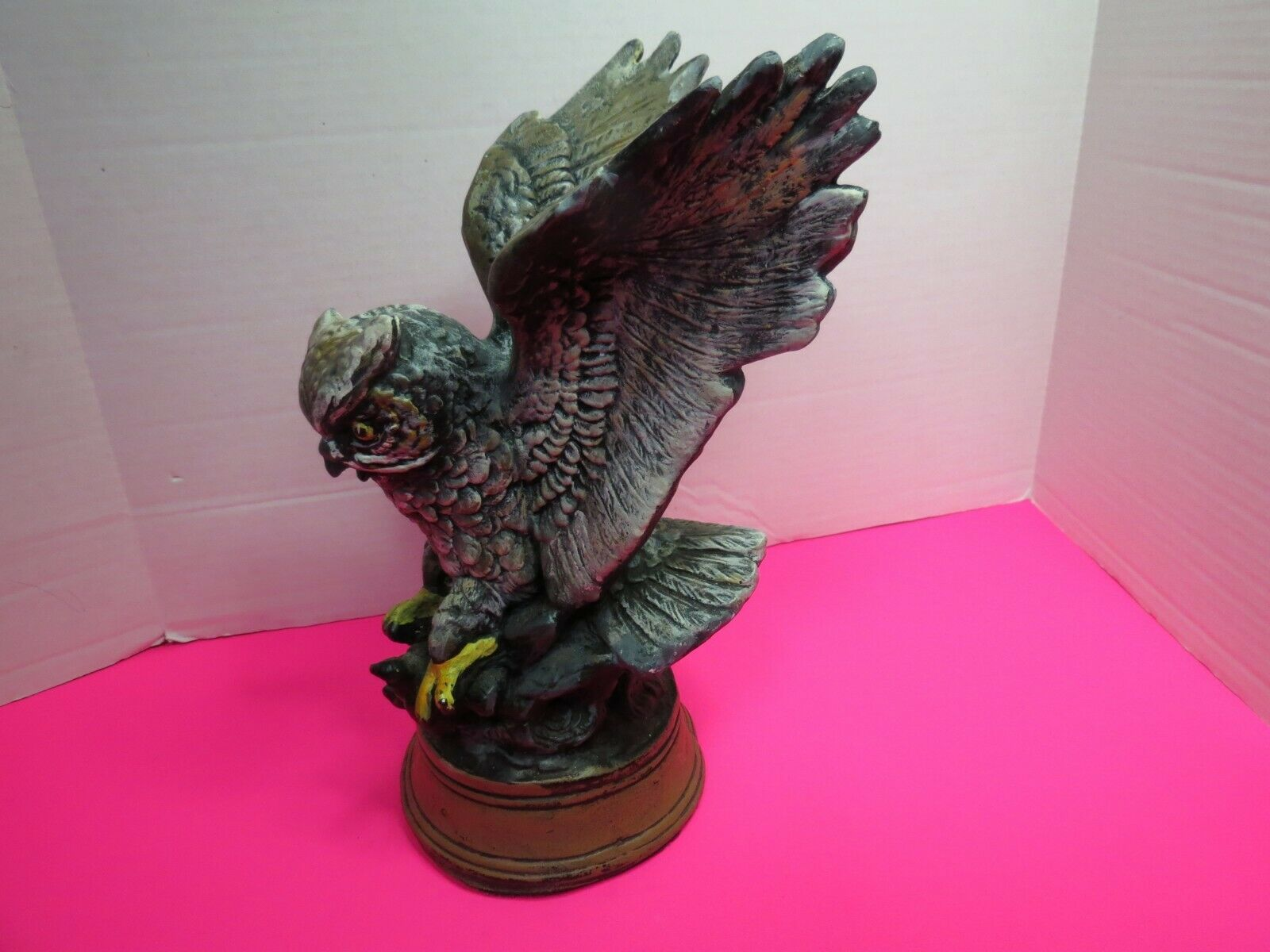 "Primary image for Heavy Ceramic Handpainted Owl Perched On Branch With Base Attached 11"" Tall"